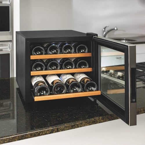 Wine Enthusiast 12-Bottle Wine Cooler with Wooden Shelves