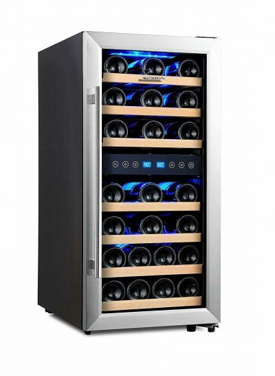 Phiestina 33-Bottle Dual Zone Wine Cooler -- side view