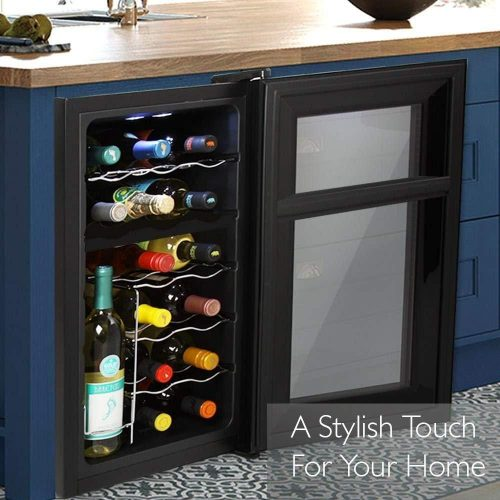 NutriChef 18-Bottle Dual Zone Wine Cooler - Installed