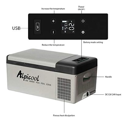 Alpicool 15-Liter 12V Mini Fridge-Freezer